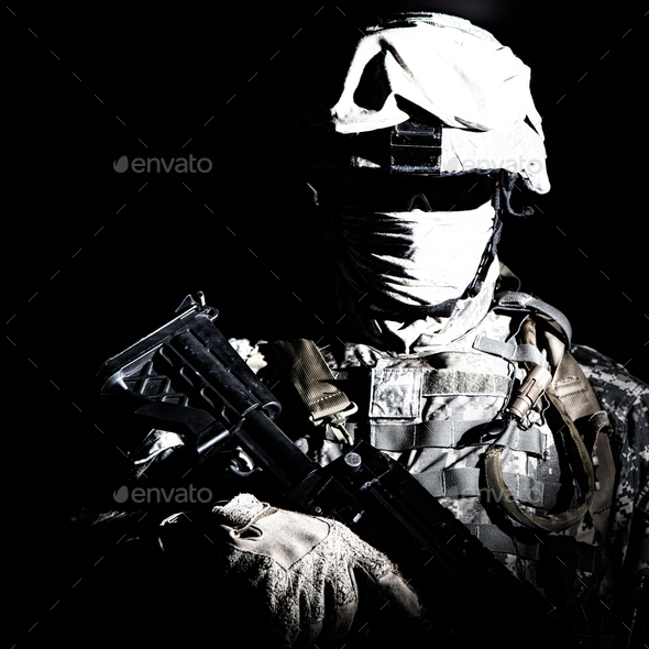 Modern infantry high contrast portrait on black - Stock Photo - Images