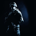 Infantry rifleman standing with weapon in darkness - PhotoDune Item for Sale