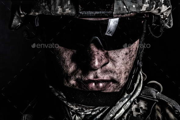 War conflict combatant after battle or raid - Stock Photo - Images