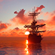 Sunset And Sailing Ship - VideoHive Item for Sale