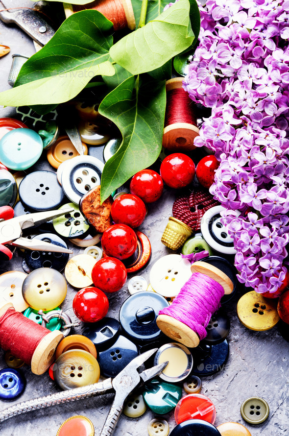 Tools for needlework and lilac branch - Stock Photo - Images