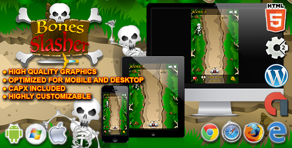 Bones Slasher - HTML5 Construct 2 Survival Game - CodeCanyon Item for Sale
