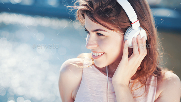 Beautiful girl with headphones - Stock Photo - Images