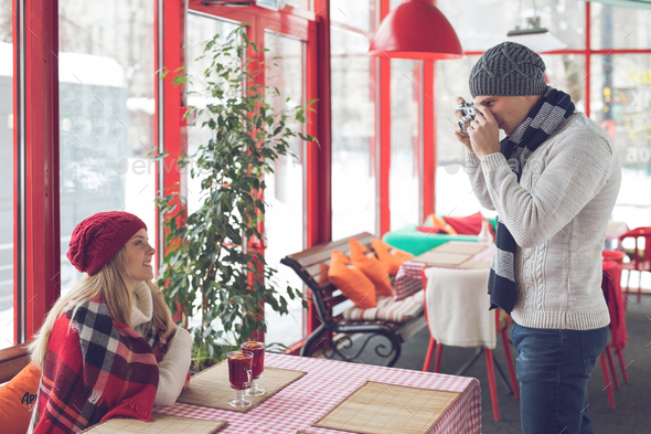 Young photographer with a girl - Stock Photo - Images