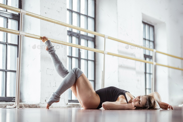 Attractive girl in a dance studio - Stock Photo - Images