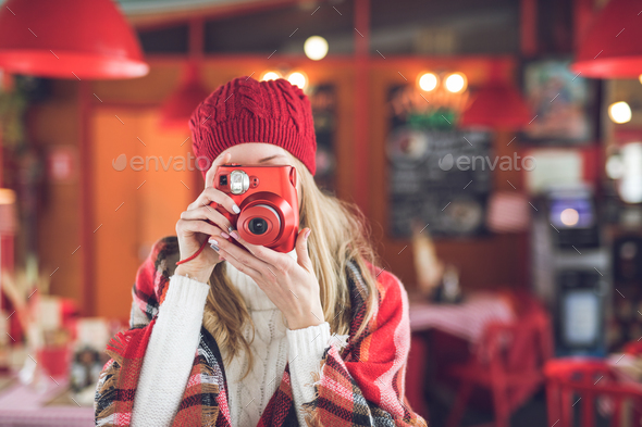 Young photographer with camera - Stock Photo - Images