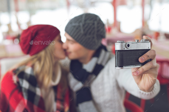 Young couple making selfie - Stock Photo - Images