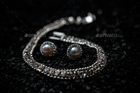 Women necklace, bracelet and earrings - Stock Photo - Images