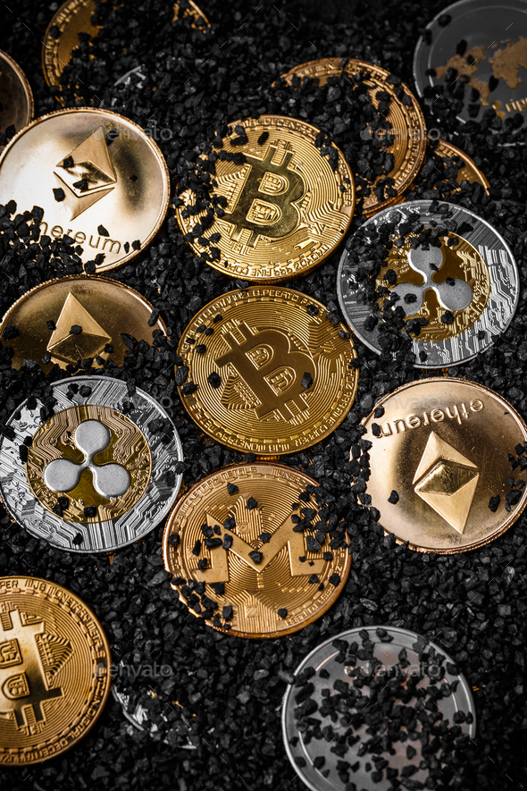 Pile of cryptocurrencies - Stock Photo - Images