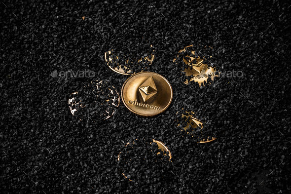 Gold etherium coin - Stock Photo - Images