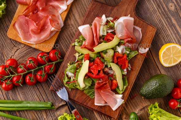 Salad with cured ham - Stock Photo - Images