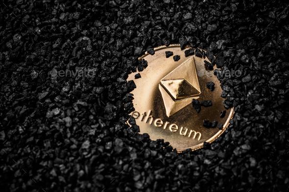 Ethereum cryptocurrency golden coin - Stock Photo - Images