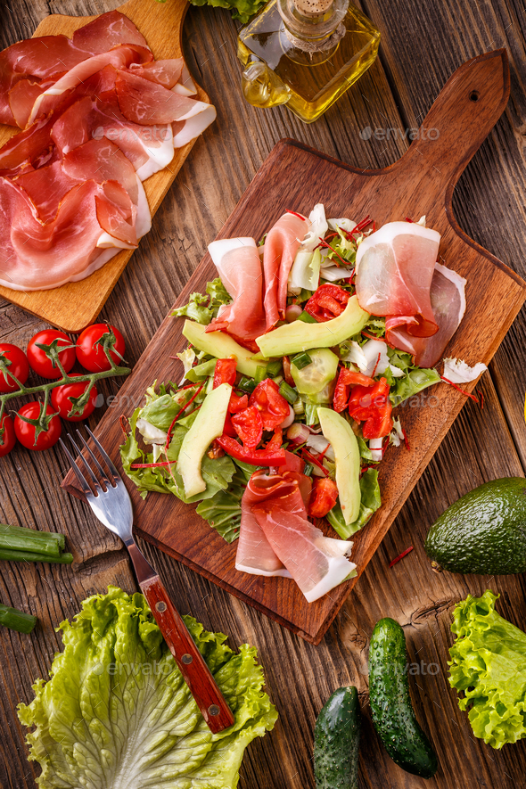 Mixed salad with prosciutto - Stock Photo - Images