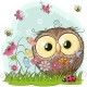 Cartoon Owl on a Meadow