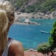 Tanned Sporty Looking Female Admire the Beautiful Tanote Bay on Midday Sunny Light. Slight Ocean - VideoHive Item for Sale
