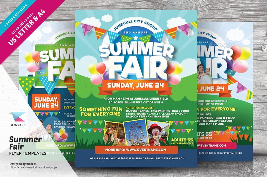 Summer Fair Flyer Templates by kinzi21 | GraphicRiver