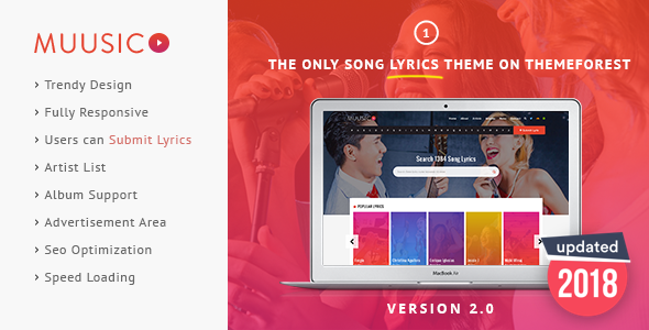 Muusico - Song Lyrics WordPress Theme - Music and Bands Entertainment