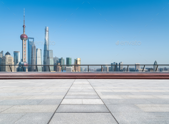 empty floor with shanghai skyline - Stock Photo - Images