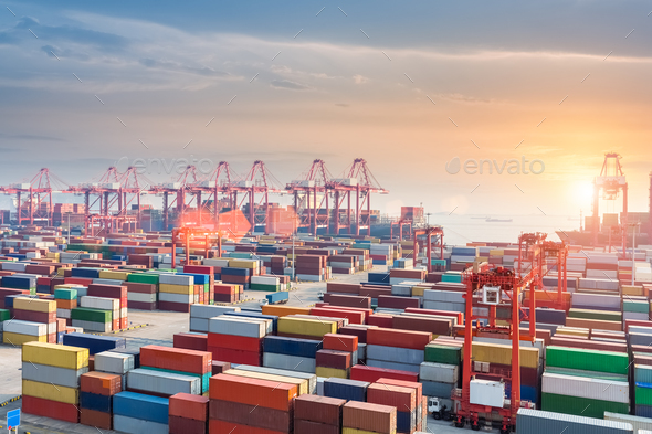 container terminal in sunset - Stock Photo - Images