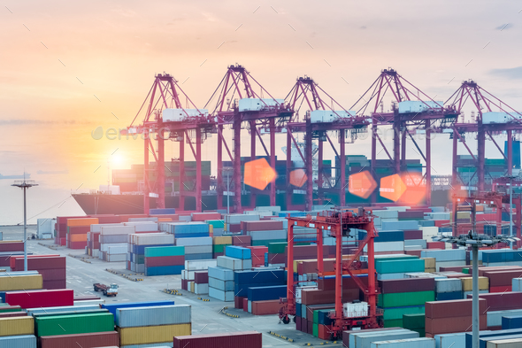 container terminal closeup in sunset - Stock Photo - Images