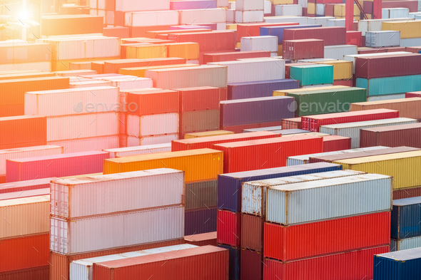 container yard in sunset - Stock Photo - Images