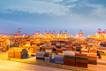 shanghai container terminal in nightfall - PhotoDune Item for Sale
