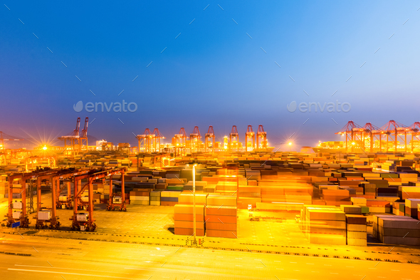 shanghai container terminal at night - Stock Photo - Images
