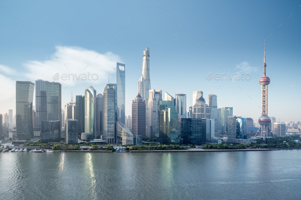 beautiful shanghai skyline - Stock Photo - Images