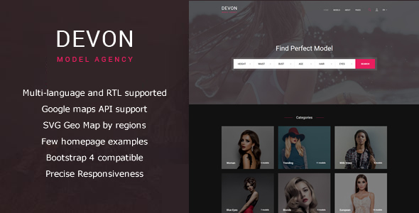 Image of Devon - Model Agency Directory HTML Theme