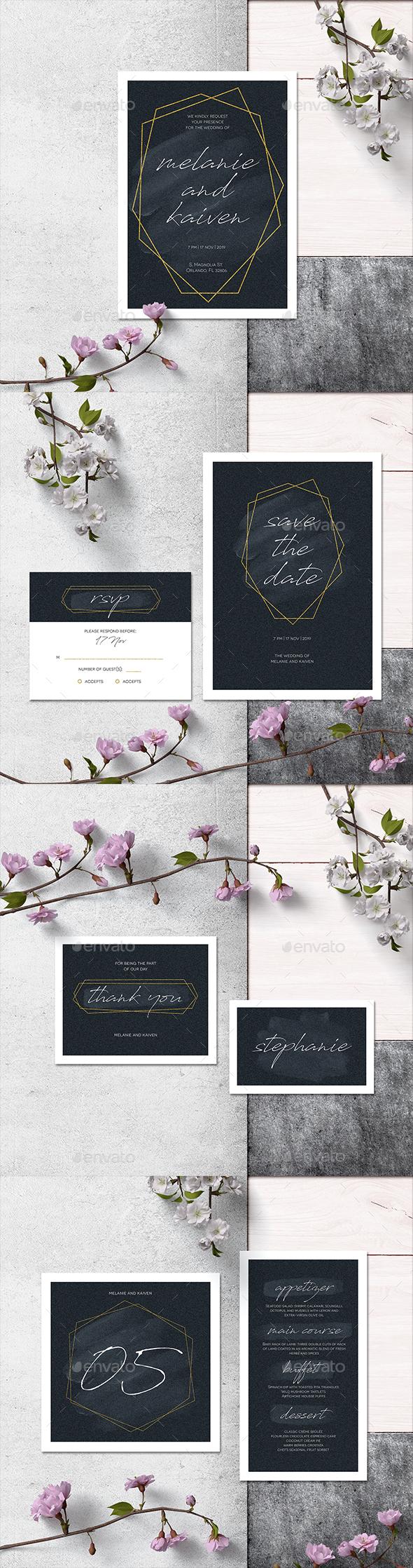Simple Geometric Line Invitation Set - Weddings Cards & Invites