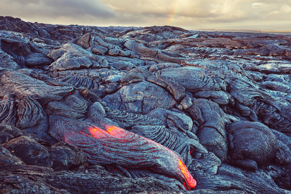 Active volcano - Stock Photo - Images