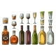 Set of Alcohol Glass and Bottles - GraphicRiver Item for Sale