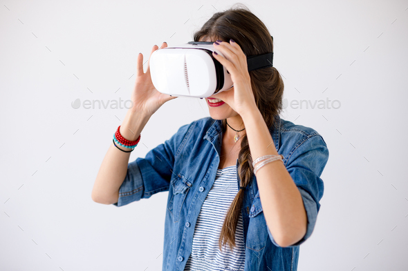 Happy hipster use VR glasses - Stock Photo - Images
