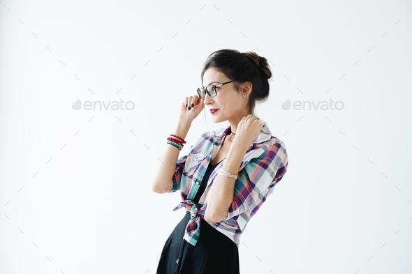 Profile of girl wearing glasses - Stock Photo - Images