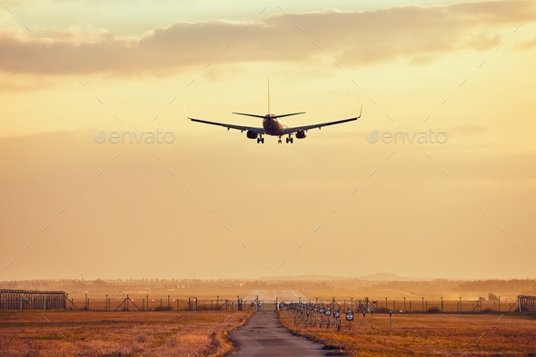 Landing at the sunset - Stock Photo - Images
