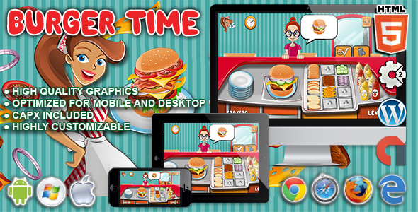 Burger Time - HTML5 Construct Cooking Game - CodeCanyon Item for Sale