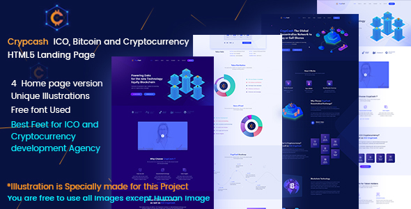 Image of Crypcash - ICO, Bitcoin and Cryptocurrency Landing  page
