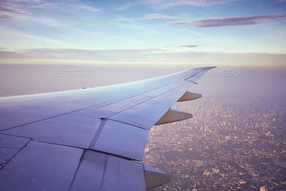 Wing of the airplane - Stock Photo - Images