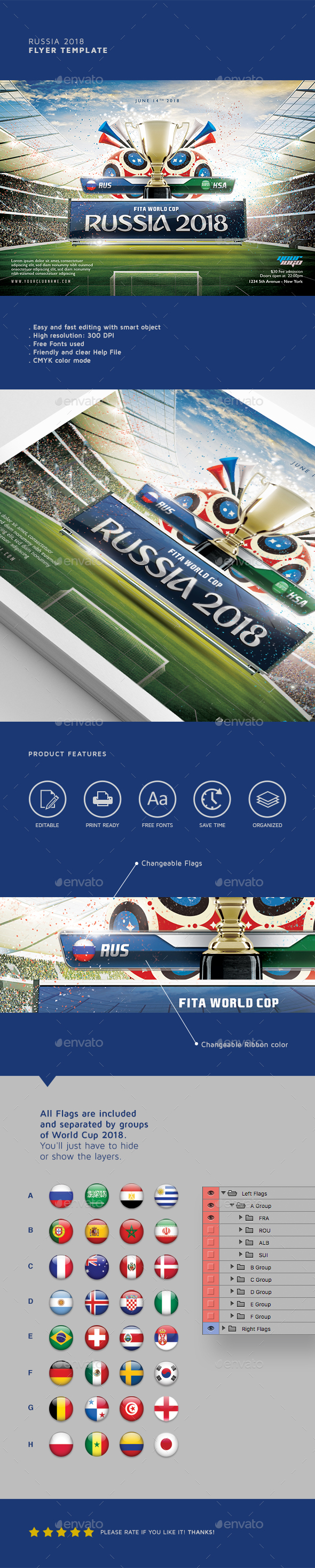 Russia 2018 Flyer Template - Sports Events