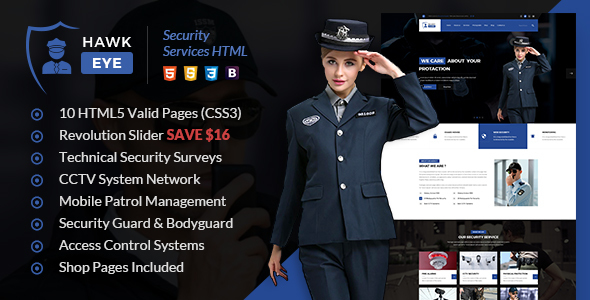Hawkeye - Security Services HTML Template - Business Corporate