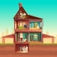 Vector Cartoon Multistorey House in Cross Section - GraphicRiver Item for Sale