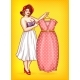 Vector Overweight Woman Tailor Pointing at Dress