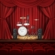 Vector Background with Drum Kit on Empty Stage - GraphicRiver Item for Sale