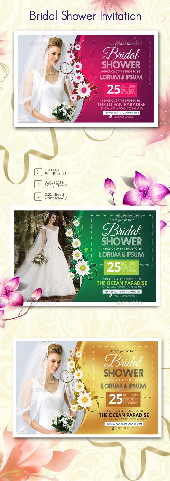 Bridal Shower Invitation - Cards & Invites Print Templates