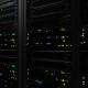Dark Modern Working Data Servers With Flashing LEDs in the Data Center - VideoHive Item for Sale