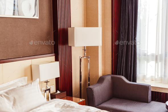 Hotel room interior with floor lamp. - Stock Photo - Images
