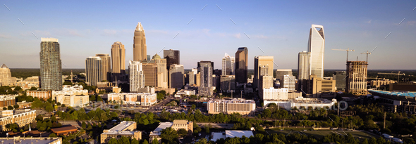 Long Panoramic Aerial view of the Downtown City Skyline of Charllotte NC - Stock Photo - Images