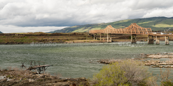 Dalles Bridge over the Columbia River Connecting Washington and Oregon - Stock Photo - Images
