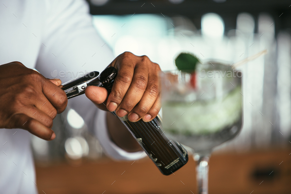 Detail of bartender hands - Stock Photo - Images