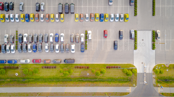 Car parking lot viewed from above Aerial view. Top view - Stock Photo - Images